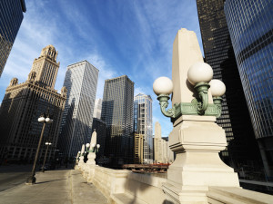 Street scene in Chicago, Illinois.